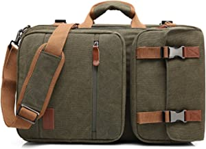 CoolBELL Convertible Briefcase Backpack Messenger Bag Shoulder Bag Laptop Case Business Briefcase Travel Rucksack Multi-Functional Handbag Fits 17.3 Inch Laptop for Men/Women (Canvas Green)
