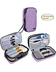 """Teamoy Travel Makeup Brush Bag(up to 8.5""""), Professional Cosmetic Artist Organizer Case with Handle, Compact and multifunctional-Small, Purple (No Accessories Included)"""