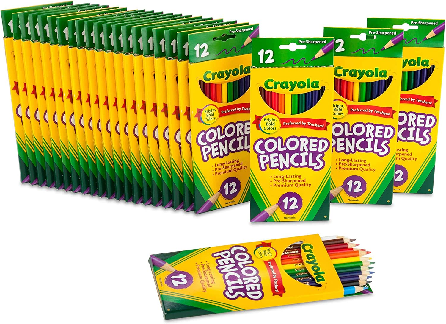 Crayola Bulk Colored Pencils, Pre-sharpened, 12 Assorted Colors, Pack of 24: Toys & Games