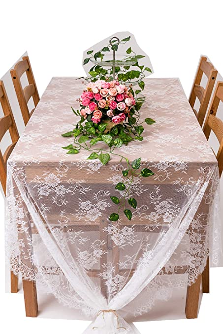 Crisky 60u0026quot;x120u0026quot; Classic White Lace Tablecloths For Weddings, Rose  Vintage Embroidered Lace