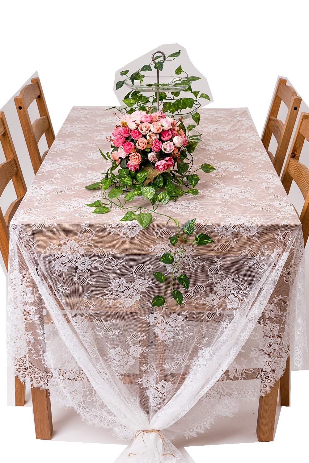 Crisky 60''x120'' Classic White Lace Tablecloths for Weddings, Rose Vintage Embroidered Lace Table runner Overlay for Baby & Bridal Shower Décor, Elagent Chic Spring Sunmmer Outdoor Tea Party Tablecover