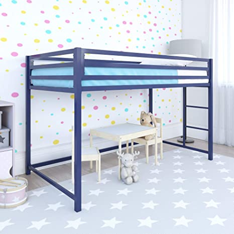 Dhp Miles Junior Metal Loft Bed Kids Bedroom Blue Twin