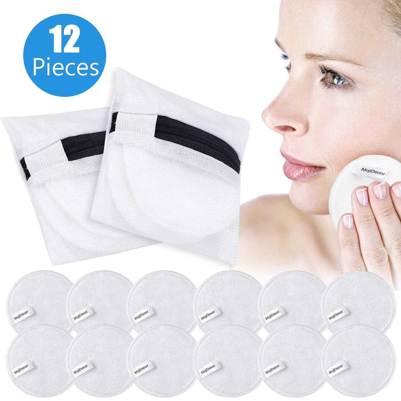 MojiDecor Waschbare Abschminkpads, 12 Stück Kosmetikpads aus Bambusfaser Makeup Entferner Pads mit Wäschebeutel, Wiederverwendbar Makeup Cleansingpads Abschminktücher zum Aufhängen
