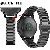 ANCOOL Garmin Fenix 5 Quick Fit Band 22mm Replacement Stainless Steel Metal Band for Garmin Fenix 5 - Black