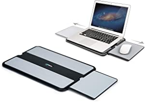 EHO Laptop Lap Pad - Laptop Stand Pad w Retractable Mouse Pad Tray, Anti-Slip Heat Shield Tablet Notebook Computer Stand Table w/Sturdy Stable Cooler Work Surface for Bed Sofa Couch or Travel