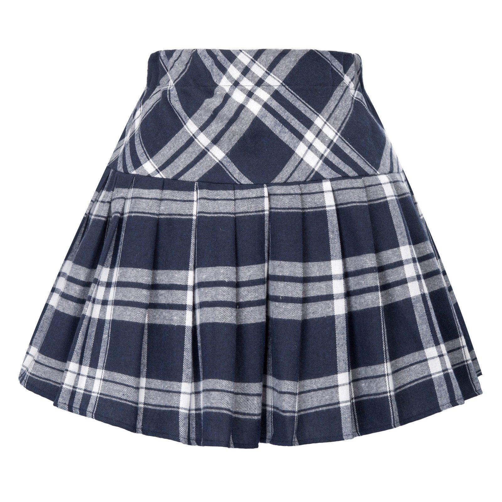 Belle Poque Women's Tartan Mini Skater Skirt Pleated School Skirt White and Navy