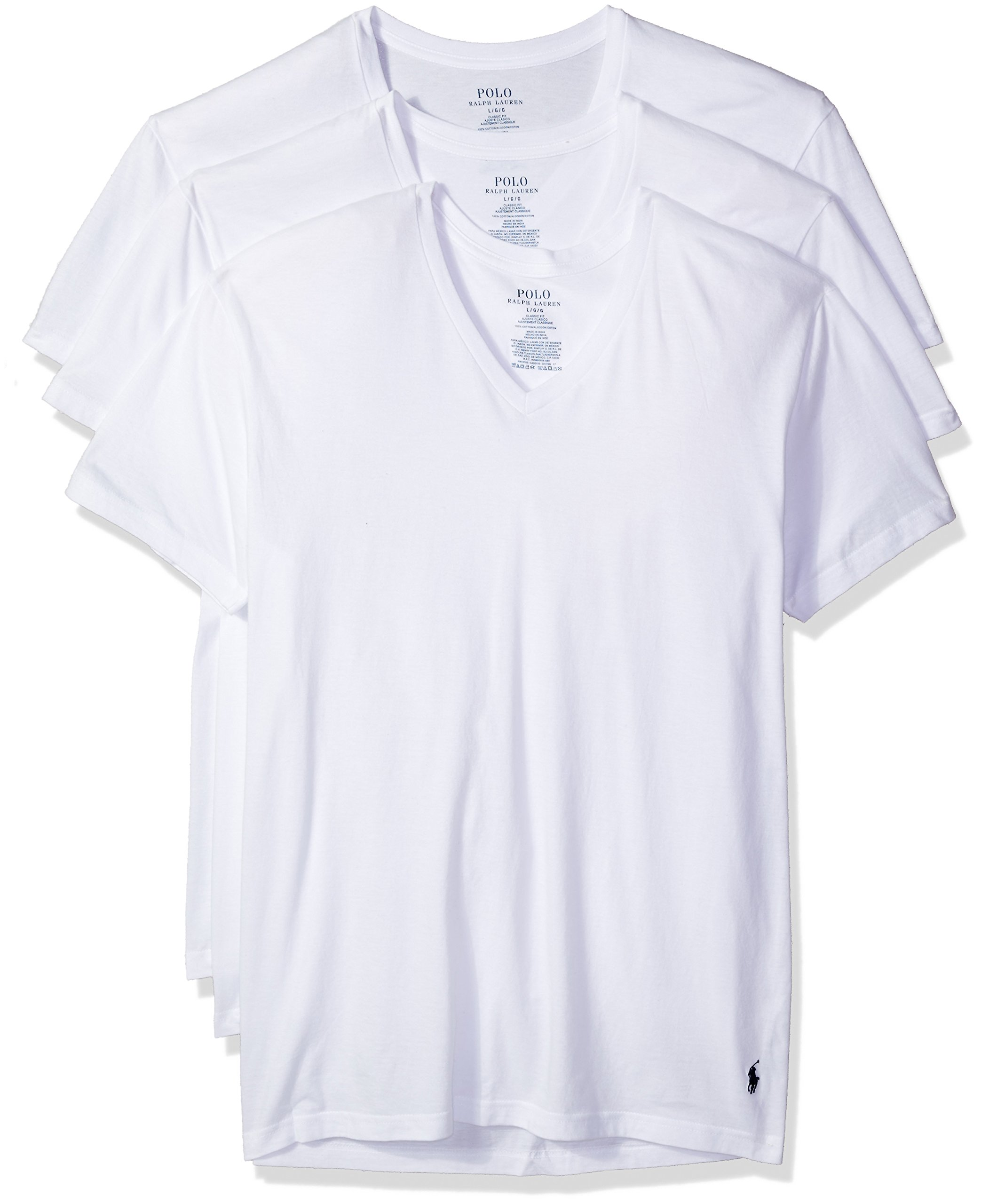 Polo Ralph Lauren Classic V-Neck T-Shirts 3-Pack, XXL, White by Polo Ralph Lauren
