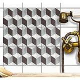 Autocollant Carrelage Sticker | Stickers mosaïques muraux pour salle d'eau et credence cuisine | Mosaique murale salle de bains | Design 3D Marbre Cubes - 20x20 cm - 9 pièces