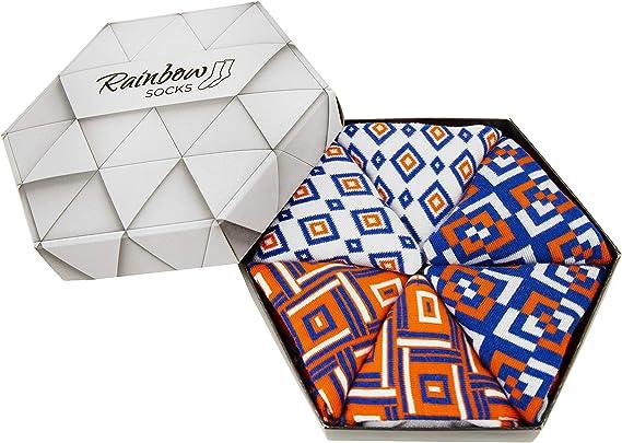 Rainbow Socks - Mujer Hombre Regalo Caja de Calcetines Geométricos - 3 Pares: Amazon.es: Ropa y accesorios