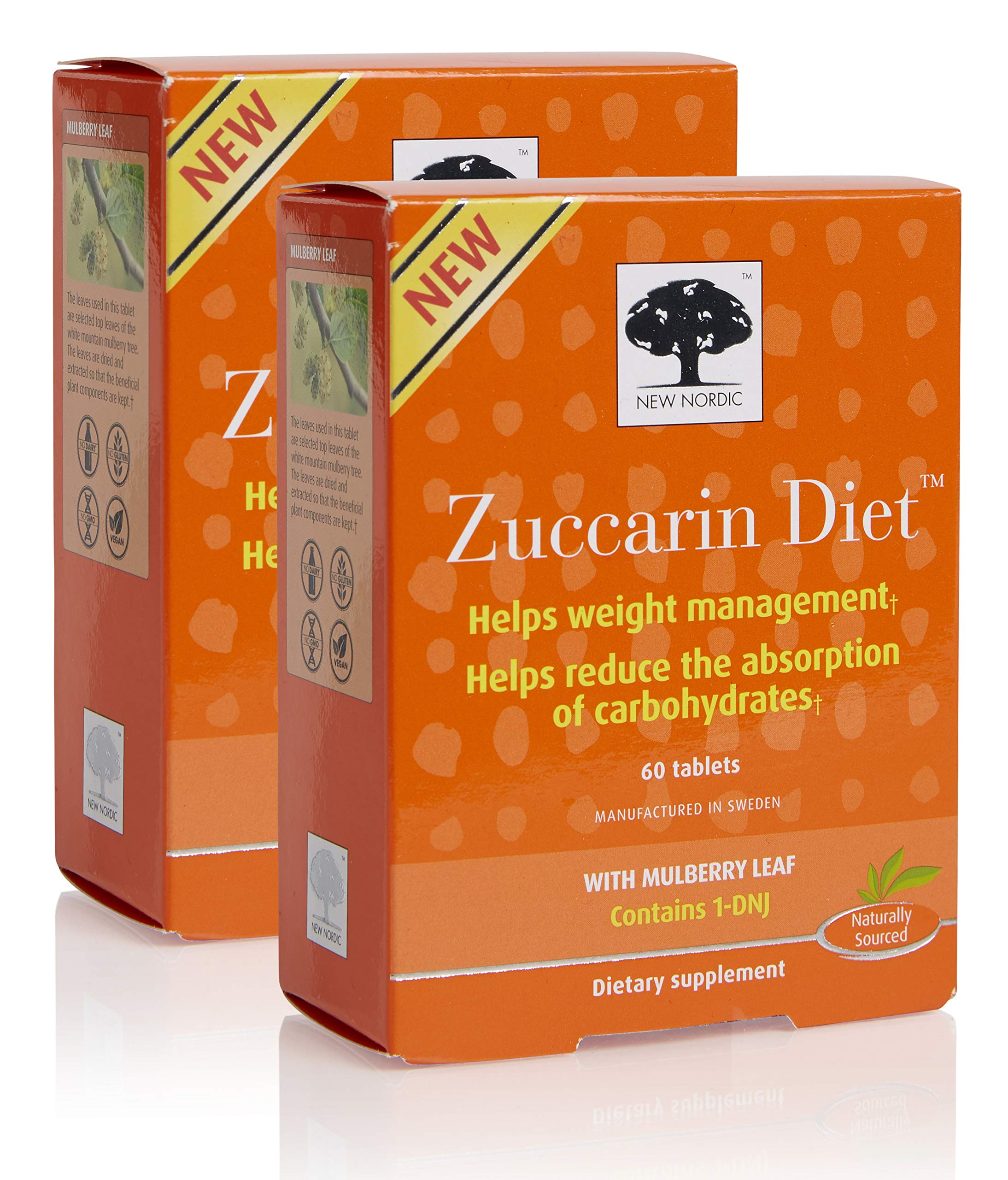 New Nordic Zuccarin Diet with Mulberry Leaves Dietary Supplement (60 Tablets) (2 Pack) by New Nordic
