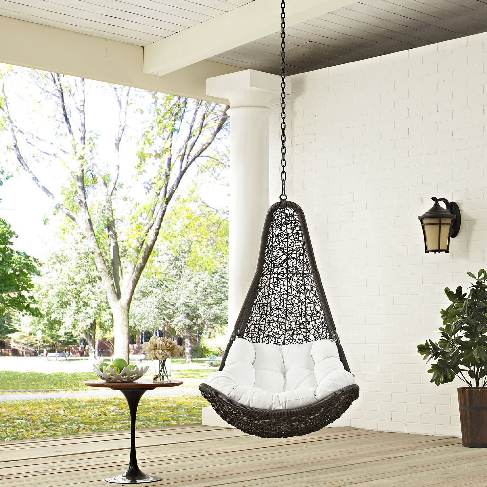 Modway EEI-2657-GRY-WHI-SET Abate Wicker Rattan Outdoor Patio Balcony Porch Lounge Swing Chair Set with Hanging Steel Chain Gray White by Modway