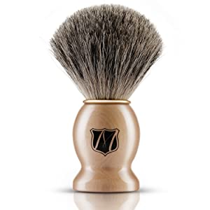 Miusco Premium 100% Pure Badger Hair Shaving Brush For All Manual Razor, Brown