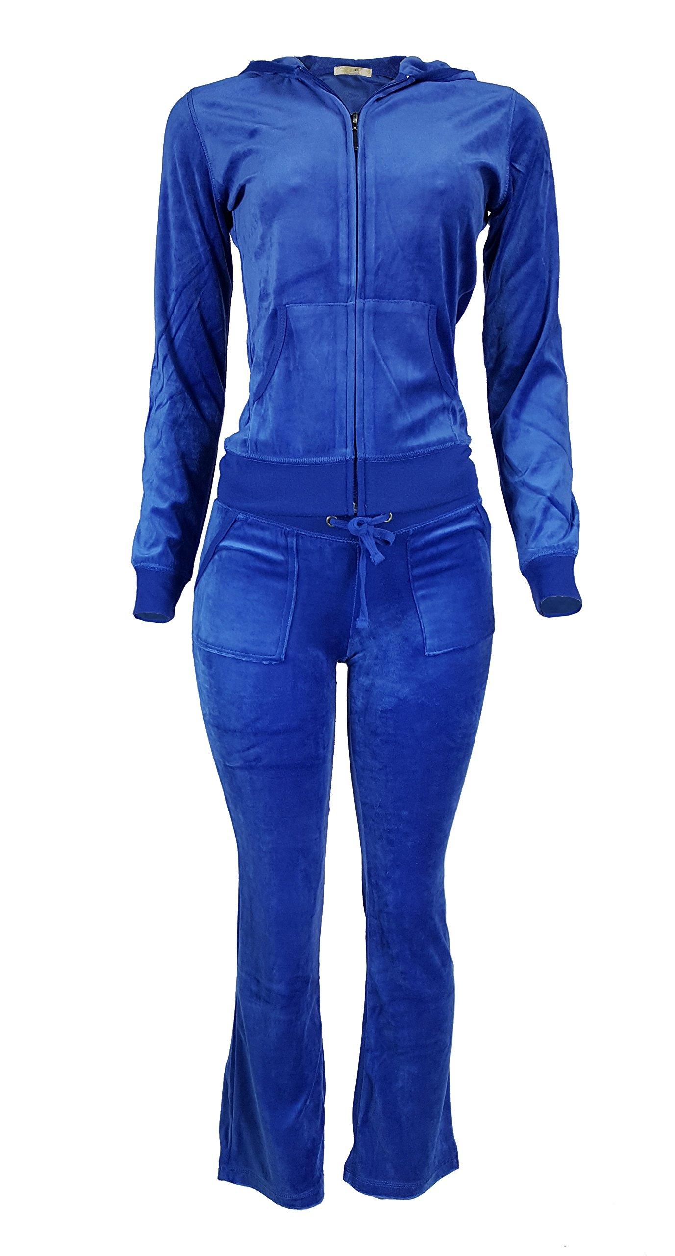 Women's Lightweight Hoodie & Sweatpants Velour Suit 2 Piece Loungewear Set (S-3XL) XX-Large Royal Blue