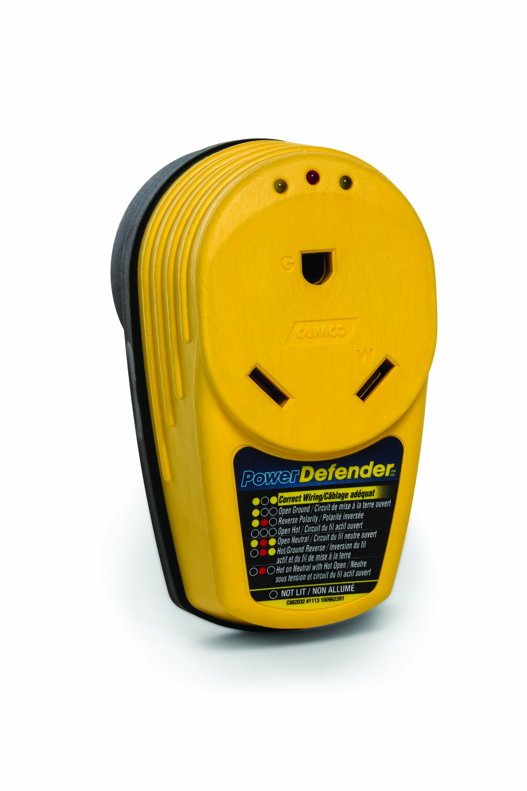 Camco PowerDefender Circuit Analyzer With Integrated Surge Protection and Indicator Lights, 30 Amp Male to 30 Amp Female (55310)