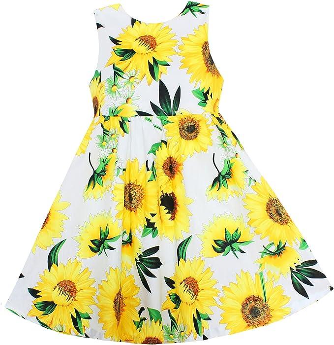 0fbb3cbce60 Shybobbi Girls Dress Yellow Sunflower Print Toddler Dresses Party Pageant  Birthday Baby Kids Clothing (6
