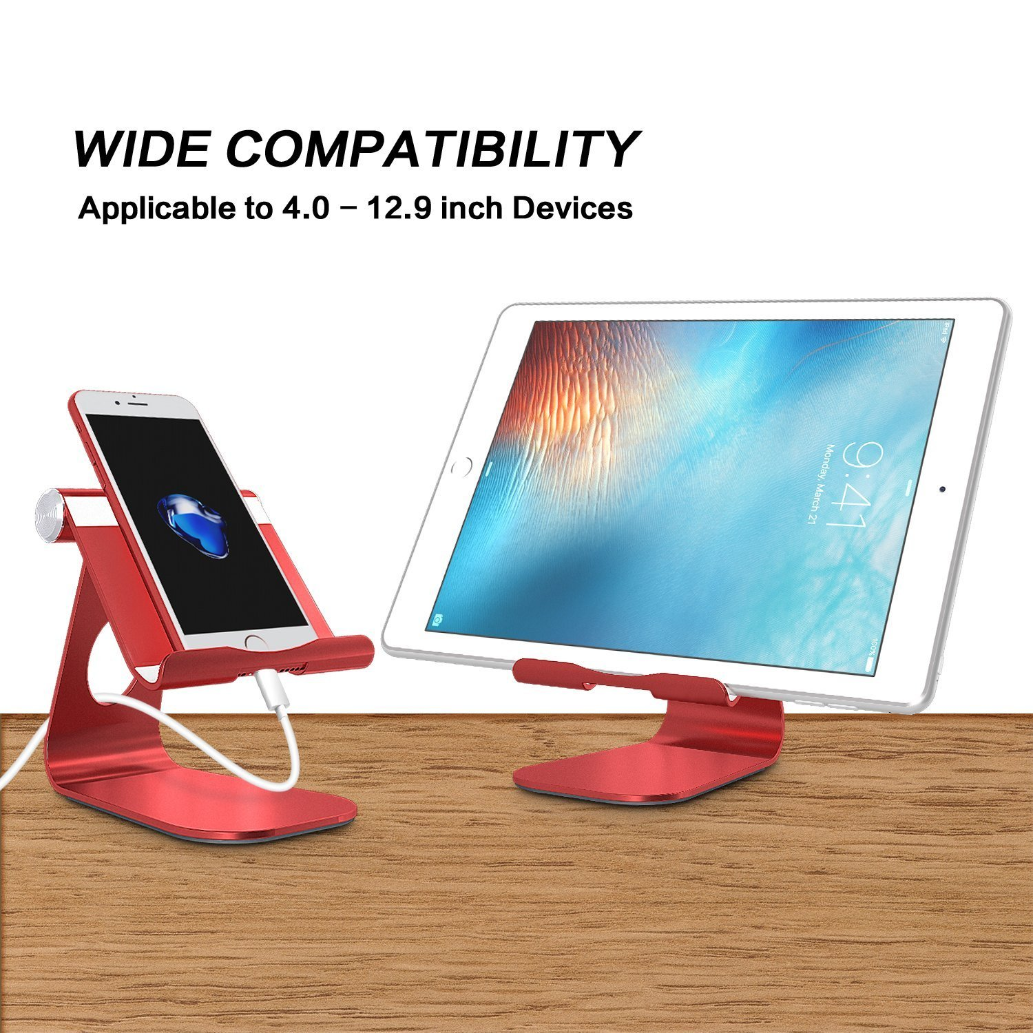 E-readers and Tablets Red Up to 12.9 inch OMOTON Adjustable Multi-Angle Aluminum Stand iPad Pro Stand with Stable Sticky Base and Convenient Charging Port Fits All Smart Phones