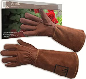 ArtAK Rose Pruning Gloves Leather Gardening Gloves Thorn Proof Long Sleeve Rose Gloves for Rose Bushes Ready to Plant Garden Gloves Cowhide Suede Gauntlet Glove Cactus Gloves Brown Large