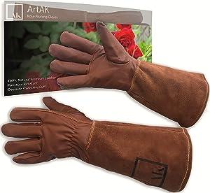 ArtAK Rose Pruning Gloves, Leather Rose Gardening Gloves Thorn Proof Long Sleeve for Women and Men Rose Gloves for Rose Bushes Ready to Plant Cowhide Suede Gauntlet Brown Garden Gloves Med