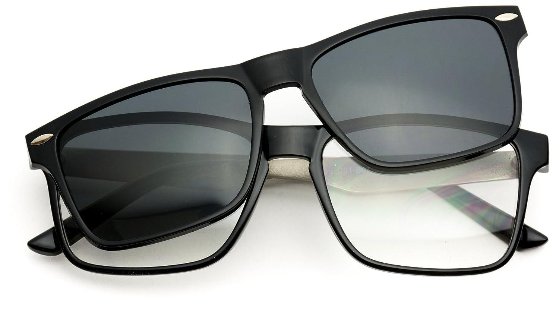 cfdfd169c3d Amazon.com  WearMe Pro - Polarized Lens Magnetic Clip-On Square Rectangular  Metal Frame Prescription Glasses  Clothing