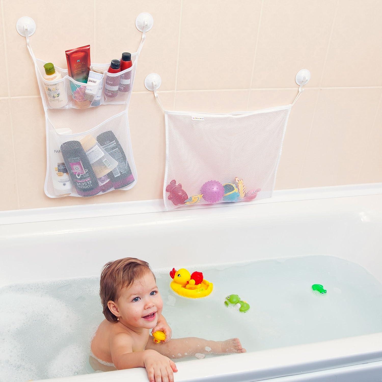 2 SET Baby Bath Shower Play Toy Storage Organizer Mesh White Bag ...