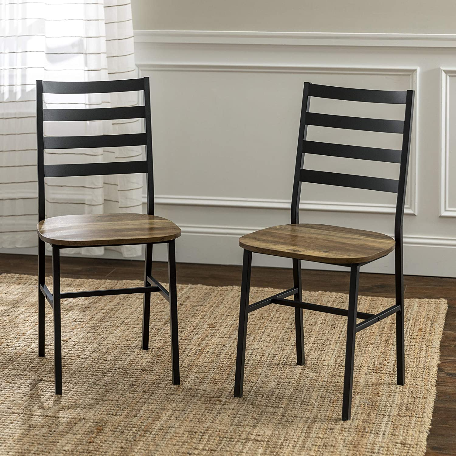 Walker Edison Person Rectangle Kitchen Table Modern Industrial Farmhouse Wood Dining Chairs, Set of 2, Reclaimed Barnwood