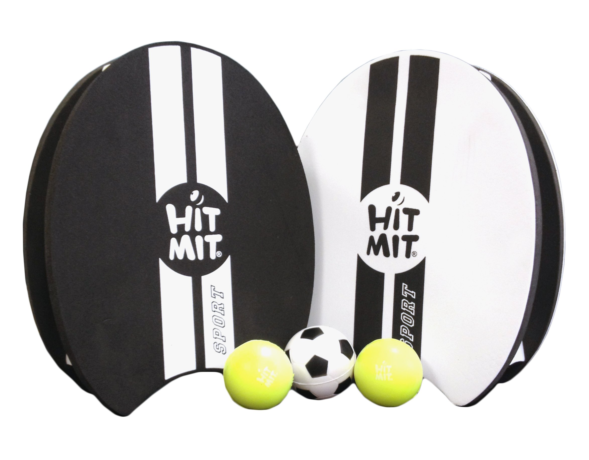 HIT MIT Sport All-Weather Waterproof Hand Paddle Ball Game - 2 paddles, 2 standard balls, 1 oversized ball, and 1 mesh bag for easy transport