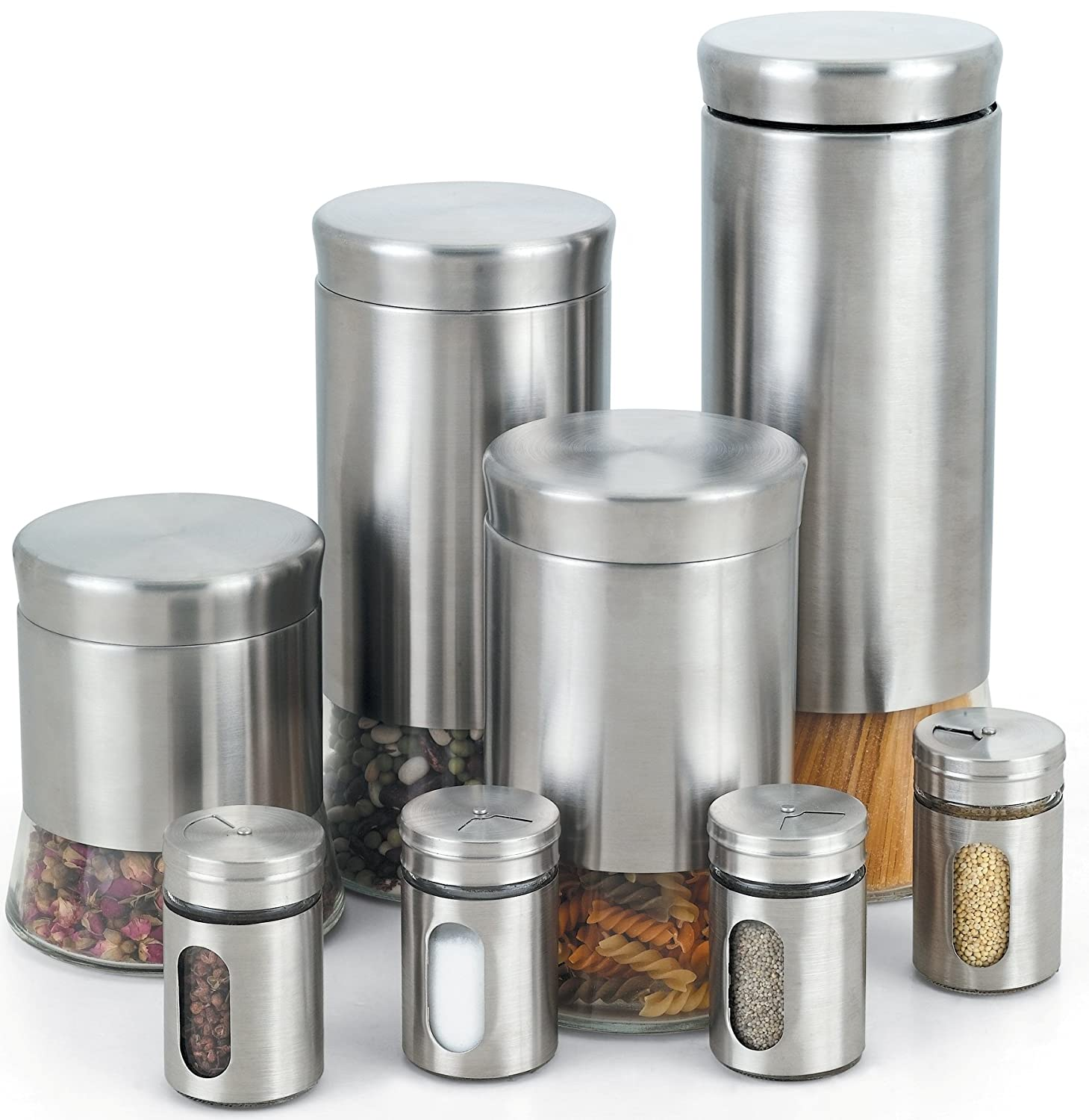 Stainless steel storage containers for kitchen - Amazon Com Cook N Home Stainless Steel Canister And Spice Jar Set 8 Piece Kitchen Dining