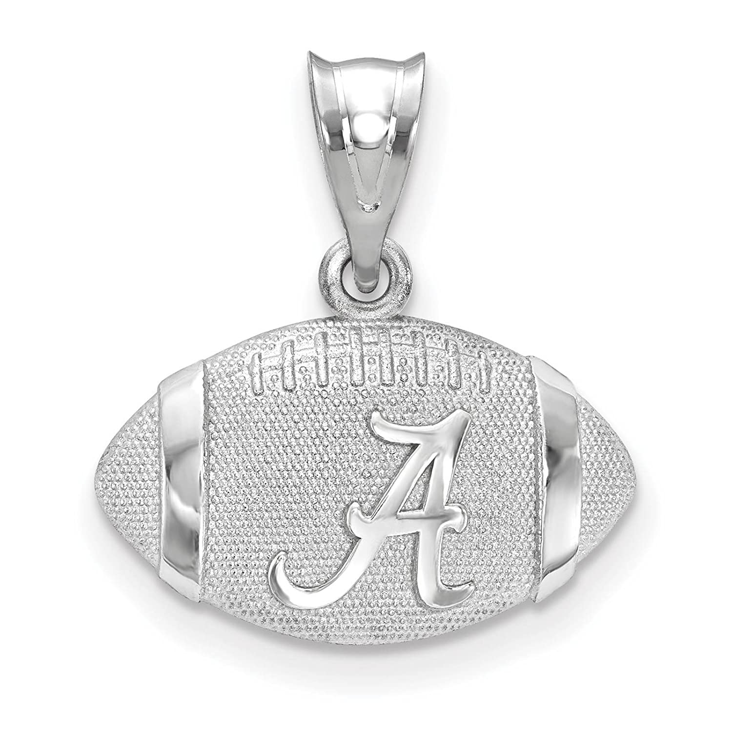 925 Sterling Silver Rhodium-plated Laser-cut The University of Alabama Football Helmet w//Logo Pendant