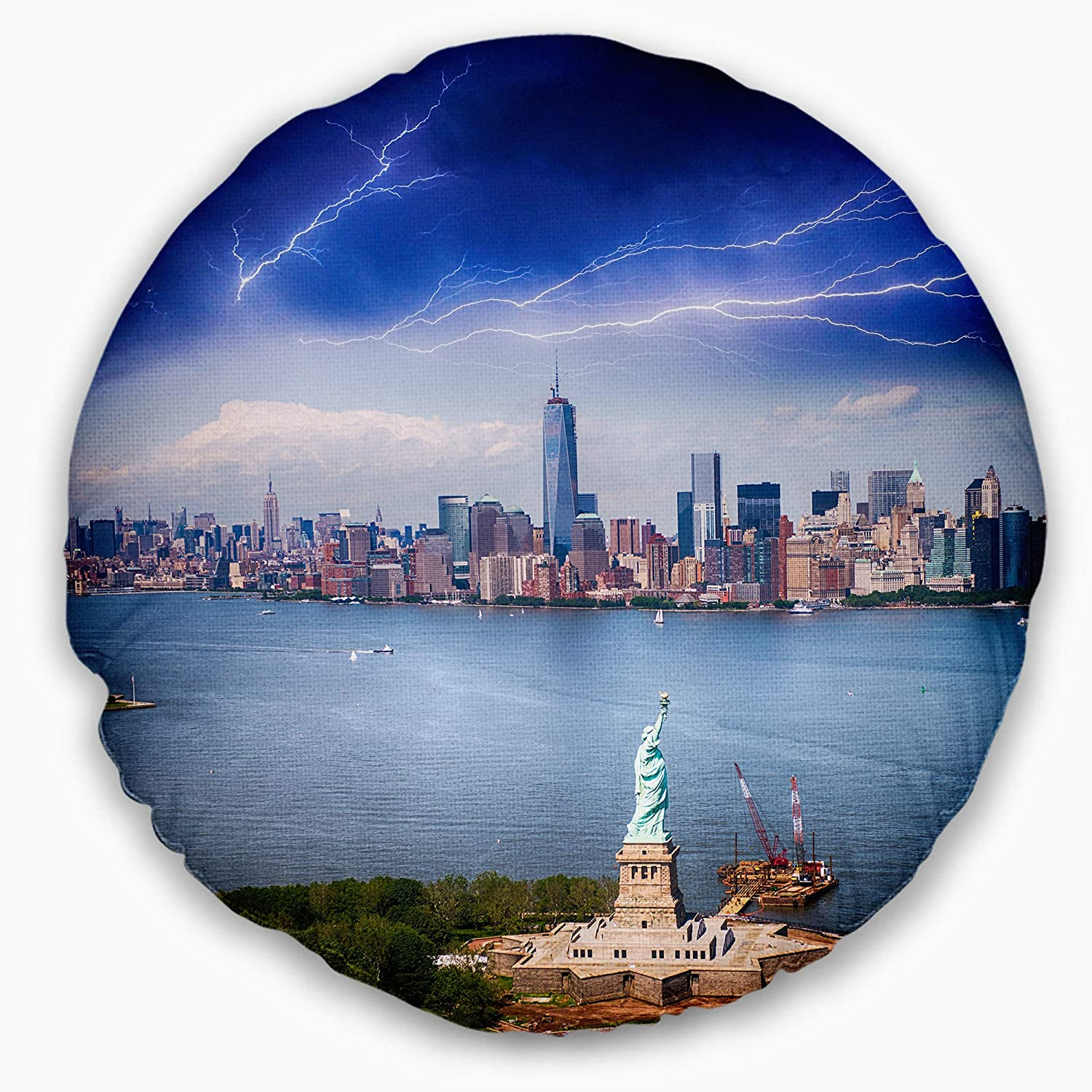 Sofa Throw Pillow 20 Designart CU7570-20-20-C Statue of Liberty and Skyline Cityscape Photo Round Cushion Cover for Living Room Insert Printed On Both Side