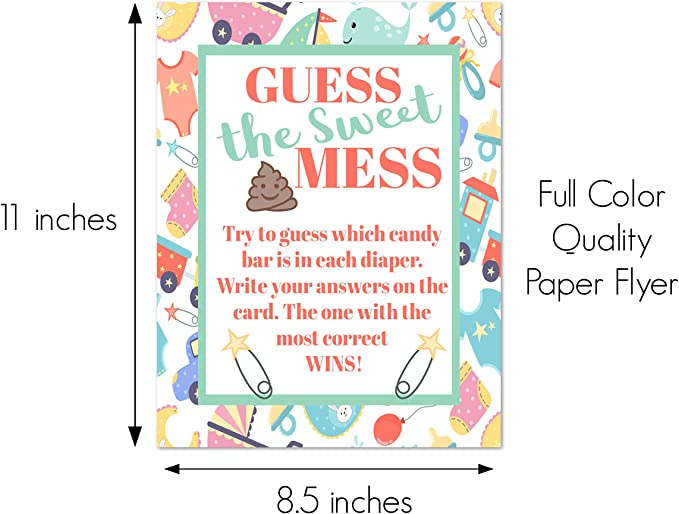 Dirty Nappy Diaper Baby Shower Guessing Game Boy Girl Unisex Guess The Mess Poo