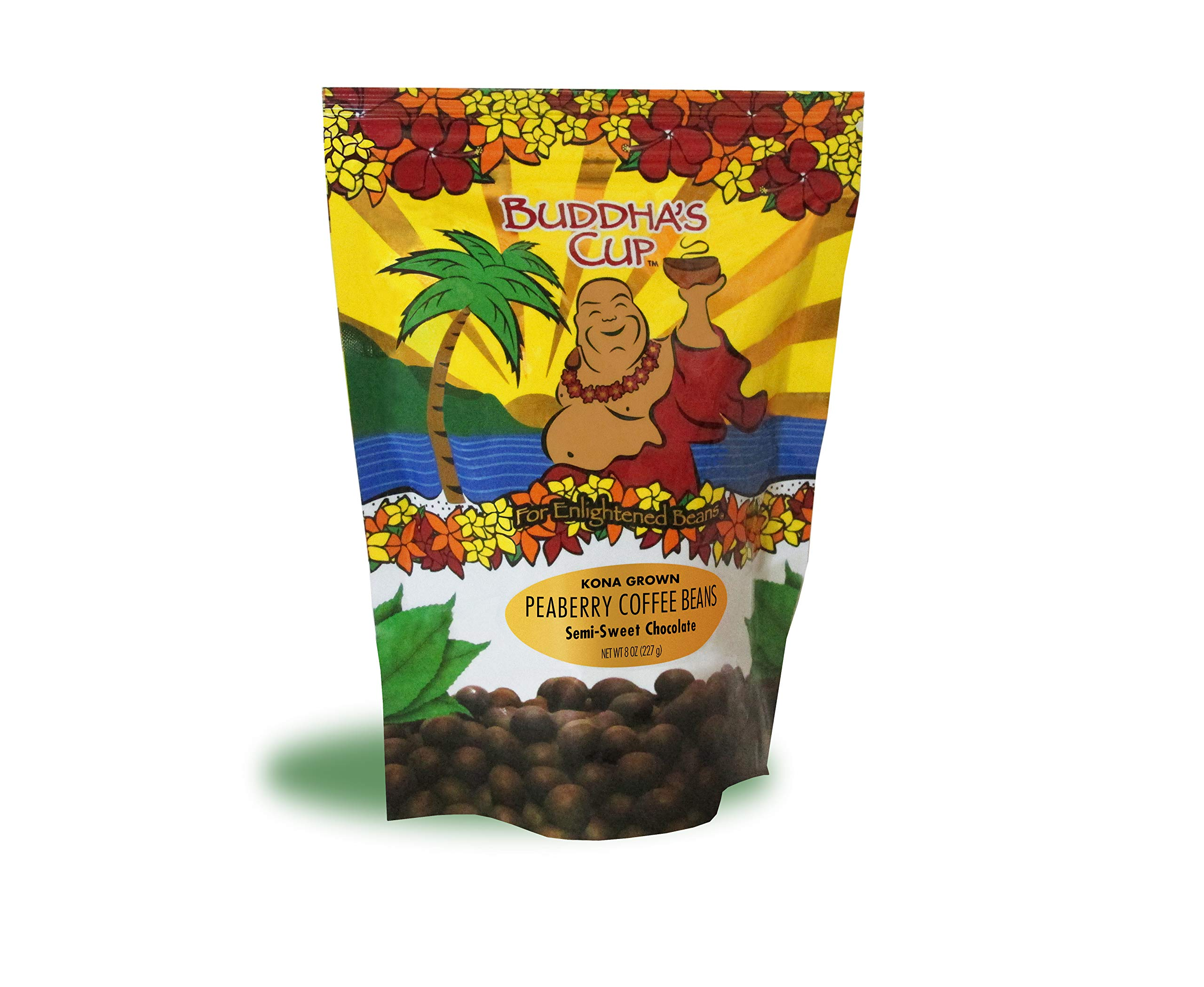 Chocolate Covered Coffee Beans by Buddha's Cup Semi-Sweet Chocolate Covered Peaberry Coffee Beans - 100% Kona Coffee - 8oz bag by Buddha's Cup