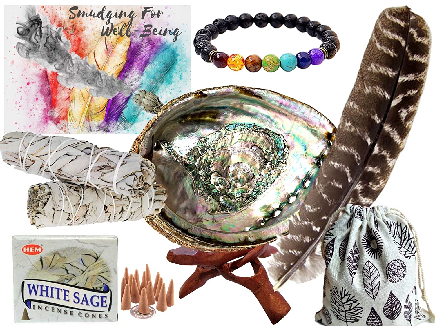 Smudge Kit Spiritual Gifts Set - Large Abalone Shell, Wood Stand, 2 - 4 White Sage Smudging Sticks, Sage Incense Cones, Feather, 7 Stone Chakra Bracelet (Unisex) - Complete Gift Set & Positive Vibes Daily World Finds