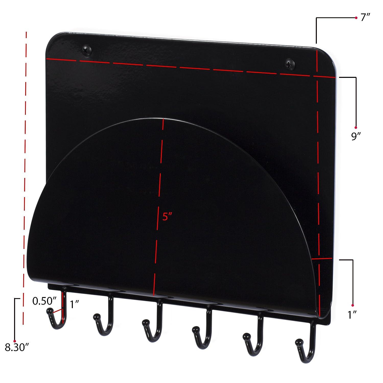 Foyer Mail Holder Rack Steel Black Black Wall Mounted Coat Key Hooks Wallniture Entryway Organizer