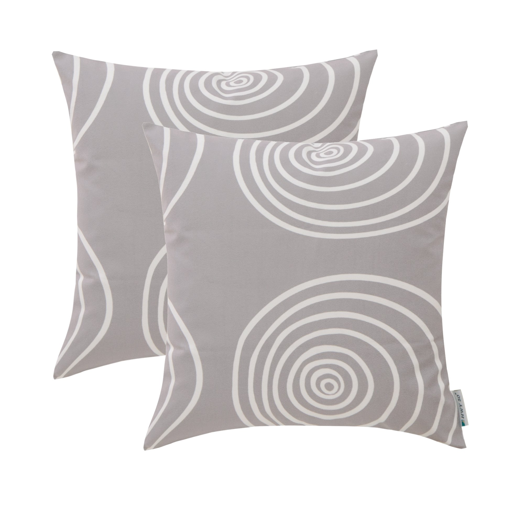 HWY 50 Grey Couch Throw Pillows Covers 18 x 18 inch, Pack of 2 Printed Polyester Comfortable Fleece Decorative Throw Pillows Cases Sofa Bed, European Circle Design Cushion Covers