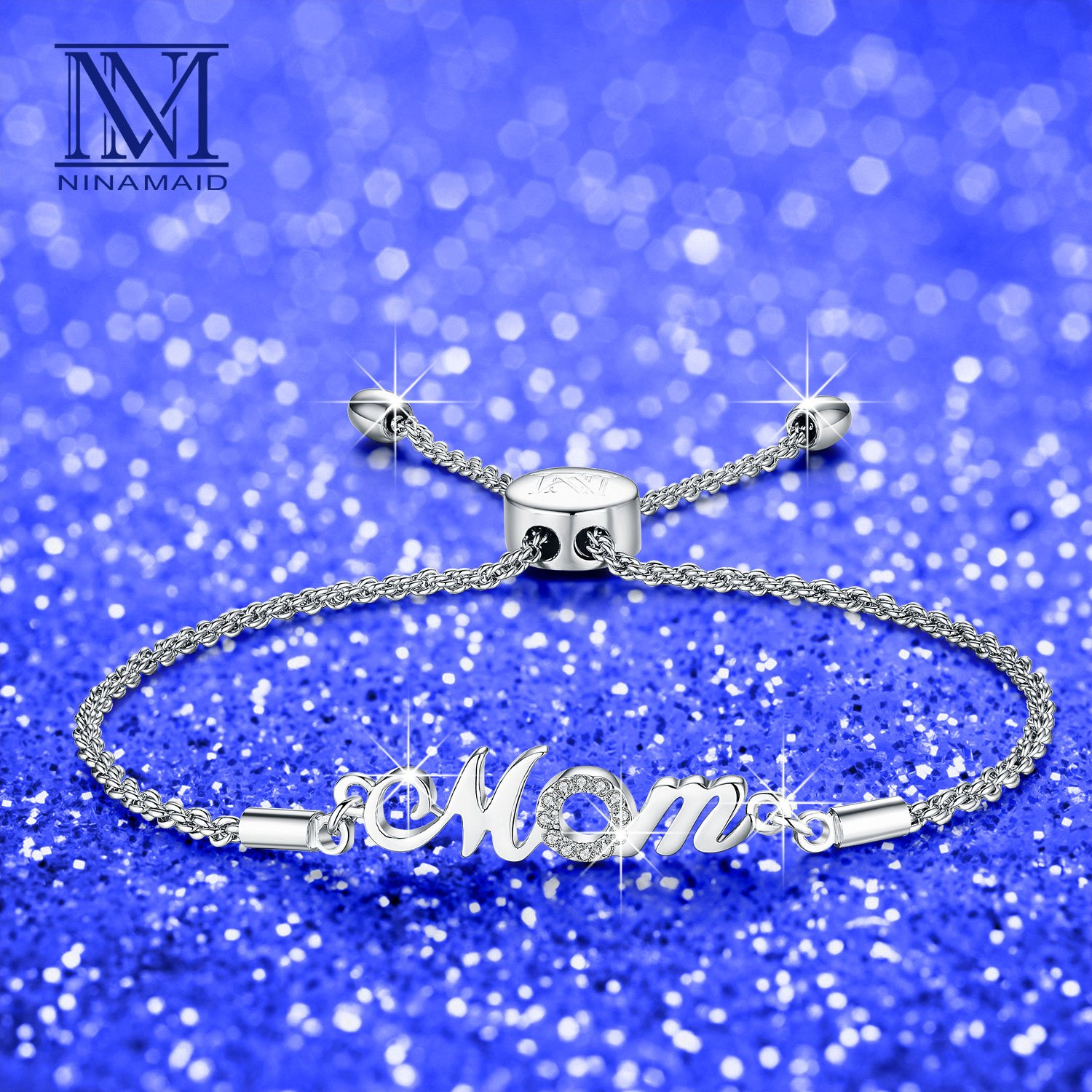 "NINAMAID ""Mom"" Charm Expandable Bolo Bracelet with Cubic Zirconia Adjustable White Gold Plated Copper Jewelry Gift for Mother by NINAMAID (Image #5)"