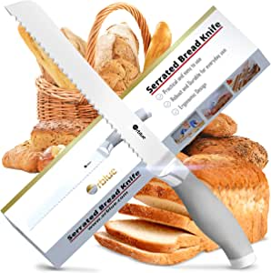 Orblue Serrated Bread Knife Ultra-Sharp Stainless Steel Professional Grade Bread Cutter - Cuts Thick Loaves Effortlessly - Ideal for Slicing Bread, ...