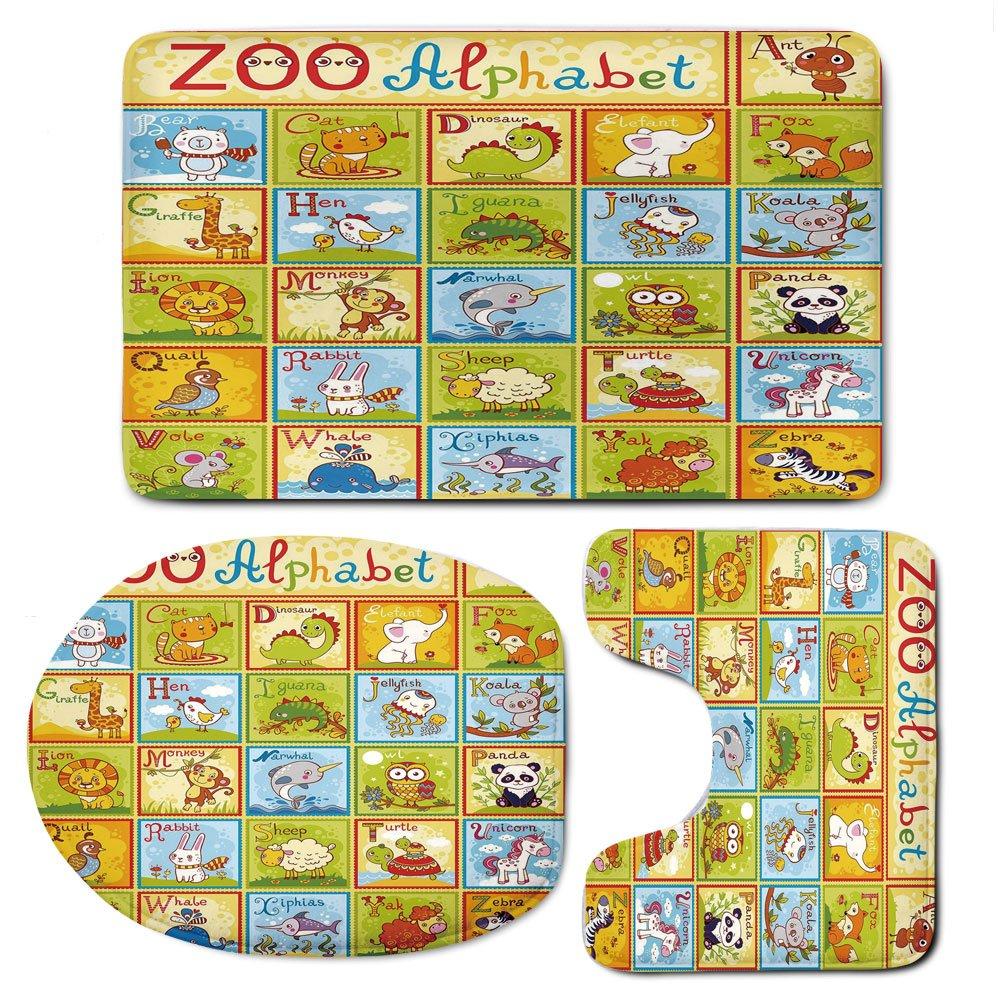 3 Piece Bath Mat Rug Set,Educational,Bathroom Non-Slip Floor Mat,Zoo-Alphabet-Design-Colorful-Style-Funny-Cartoon-Animals-Children-Kids-School,Pedestal Rug + Lid Toilet Cover + Bath Mat,Multicolor