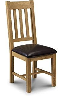 X2 Lincoln Solid Oak and Brown Leather Dining Room Chairs: Amazon.co ...