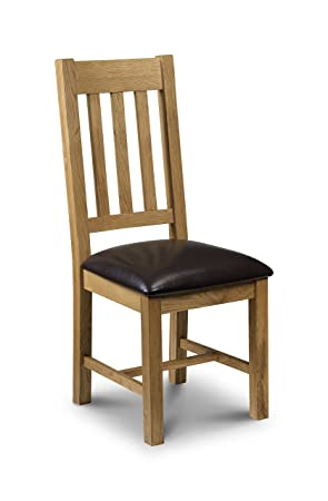 Julian Bowen Light Astoria Oak Dining Chairs, Waxed Oak/Brown Faux Leather,  Set