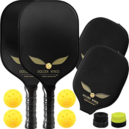 Pickleball Paddle Set of 2 - Graphite Pickleball Racket + 4 Pickle Balls + Cover + 2 overgrips - Composite Pickleball Paddles Bundle Honeycomb Pickle ...