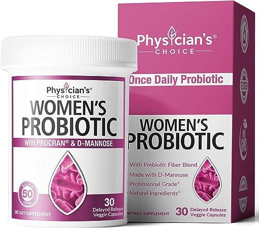 Prebiotics & Probiotics for Women - Science Backed ProCran - Organic Prebiotics, 50 Billion CFU, D-Mannose & Cranberry for Digestive, Immune, Feminine Health, Soy & Dairy Free, 30 Vegan Capsules
