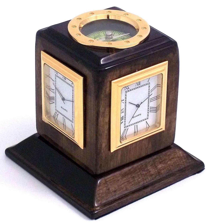 amazoncom beyberk three time zone revolving desk clock walnut wood tarnish proof home u0026 kitchen - Desk Clocks