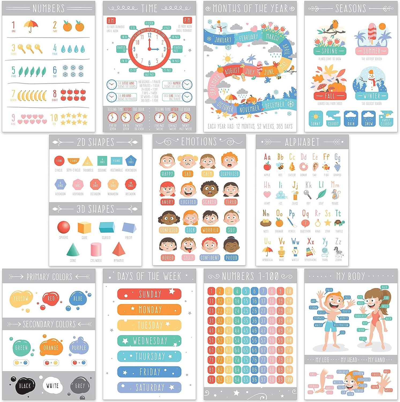 English Laminated Alphabet Posters, Educational Poster, Classroom Poster , Homeschool Supplies, Educational Posters, Preschool Learning Posters , Educational Posters for Preschoolers , Kindergarten Posters (English)(11 pcs)