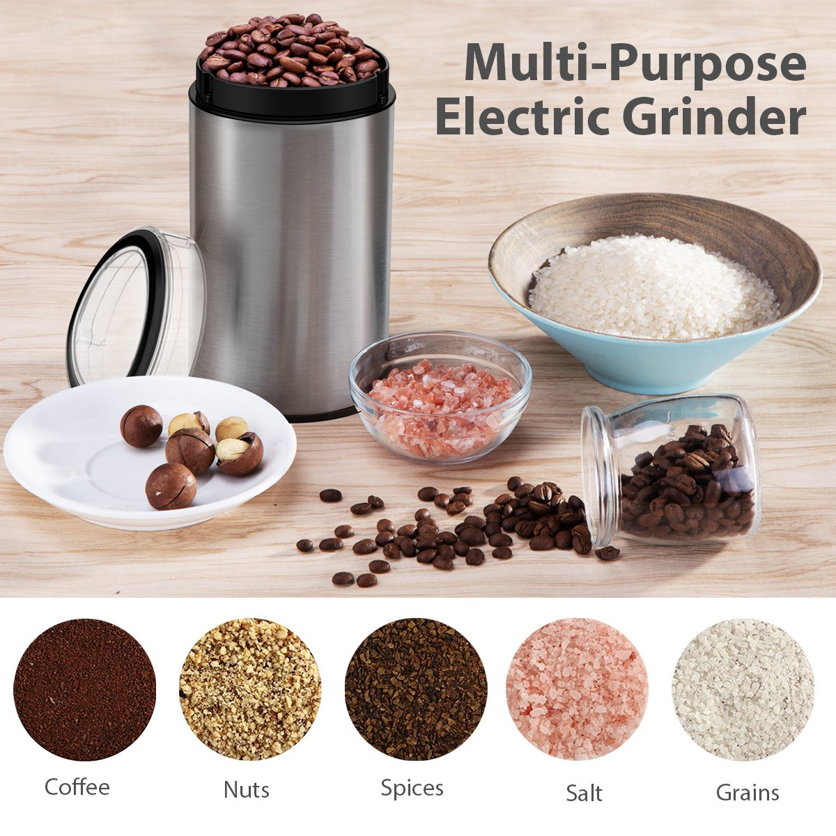 Coffee Grinder Electric, TOBOX Multifunctional Stainless Steel Blade Coffee Grinder Fast Grinding Coffee Beans, Nuts, Grains, Spices (Sliver) by TOBOX (Image #5)