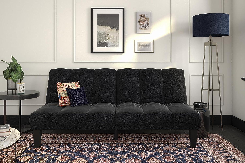 Comfortable Plush Microfiber Upholstery DHP Hamilton Estate Premium Futon Sofa Sleeper Rich Black