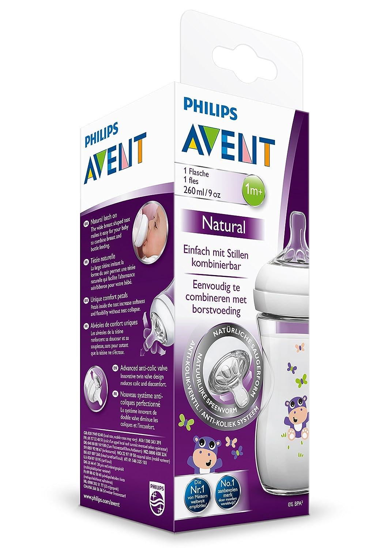 Philips Avent Natural D/écor/é Biberon Hippoppotame 260 ml