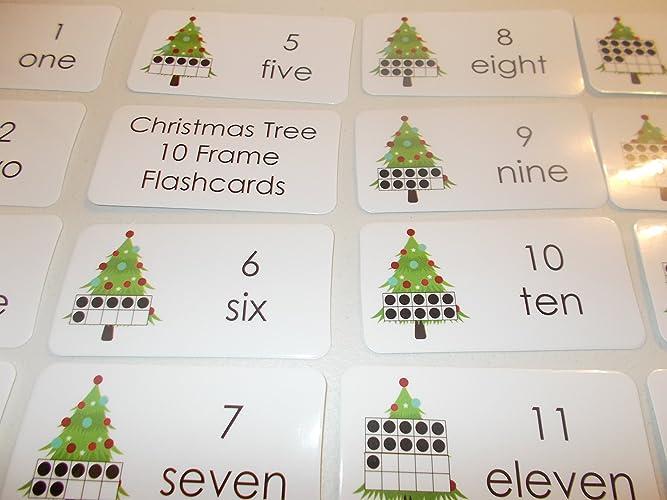 Amazon.com: 20 laminated Christmas Tree 10 Frame Math Flashcards ...