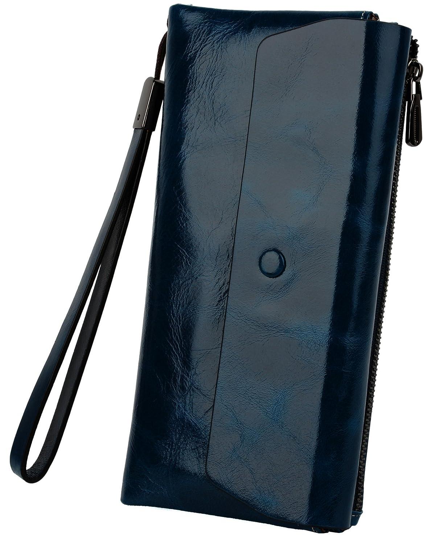 Yaluxe Mujer Lujoso Cuero Genuino Encerado Ranura De Tarjeta Con Zipper Monedero Billetera Con Llavero (Caja De Regalo) Azul: Amazon.es: Zapatos y ...
