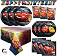 Disney Cars Movie Theme Birthday Party Supplies Set - Serves 16 - Banner Decoration, Table Cover, Dinner and Cake Plates, Cups, Napkins, Button