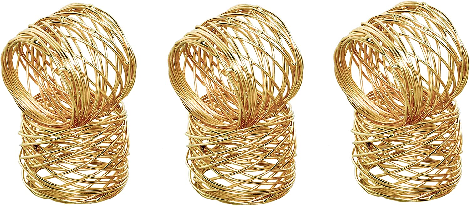 Alpha Living Home Napkin Rings Set of 6, Mesh Napkin Holders, Napkin Rings Bulk for Party Decoration, Dinning Table, Everyday, Family Gatherings - A Great Tabletop Décor - Gold